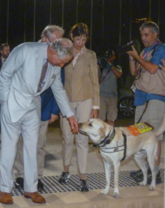 Prince Charles meeting guide dog Leo