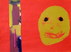 An artwork featuring a yellow face on a red background