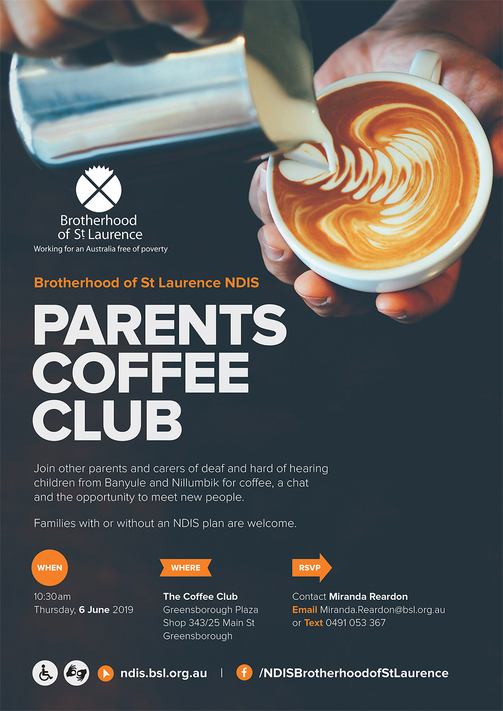 parents coffee club event poster june 2019