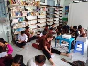 People in a classroom working together